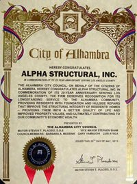 Foundation Repair and Hillside Repair Commendation from the City of Alhambra