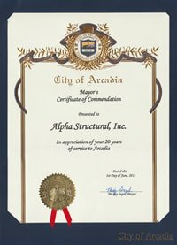 Certificate of Commendation for Alpha Structural
