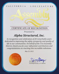 Alpha Structural's California's Certificate of Recognition