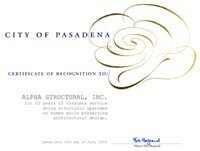 Pasadena Certification of Recognition for Alpha Structural