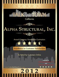 Foundation Contractor Alpha Structural's Talk of the Town award 2012