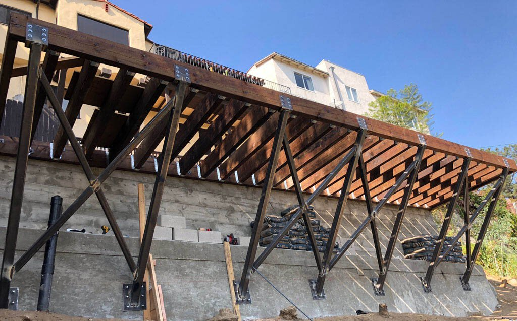 hillside foundation repair los angeles with rataining wall